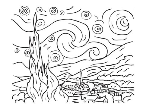 Starry Coloring Page Gogh Classical Music For Kids Rimsky Korsakov Gershwin And Holst by Starry Coloring Page Gogh