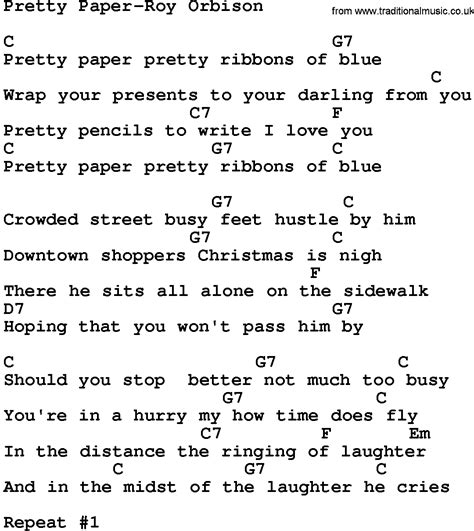 Paper Lyrics - country pretty paper roy orbison lyrics and chords