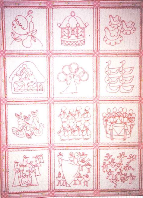 12 Days Of Quilt Pattern by 12 Days Of Redwork Quilt Pattern Bad 078