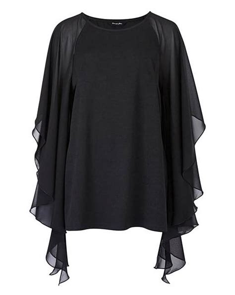 Black Batwing black batwing top with chiffon sleeve simply be
