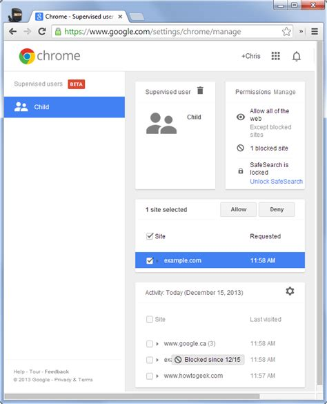 chrome unblock website use supervised users to set up parental controls on a