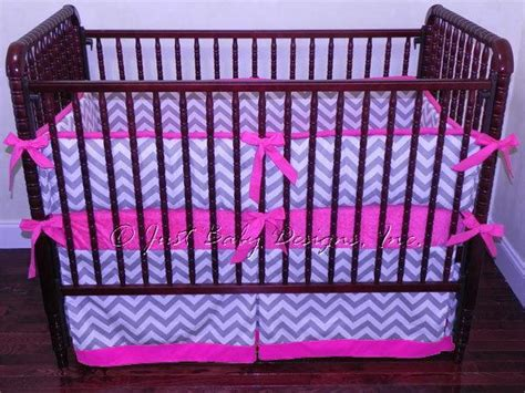 Custom Crib Bedding Abbie Gray And White By Babybedding Gray And Pink Chevron Crib Bedding