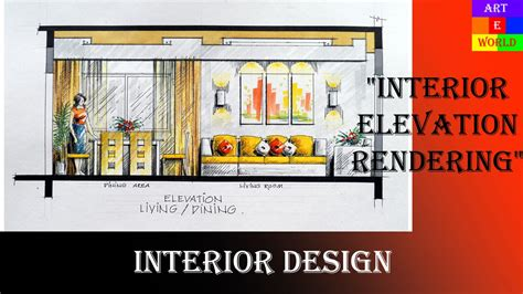 36 manual rendering 2d interior design elevation