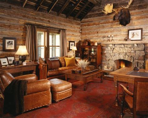 log home game room decor traditional family room log cabin decorating design