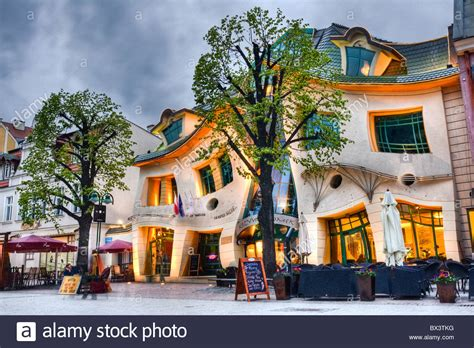 crooked house in sopot poland is like a children s book crooked house krzywy domek sopot poland stock photo