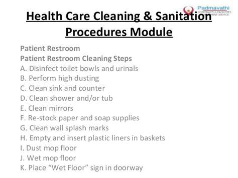 bathroom cleaning procedure health care cleaning sanitation procedures module