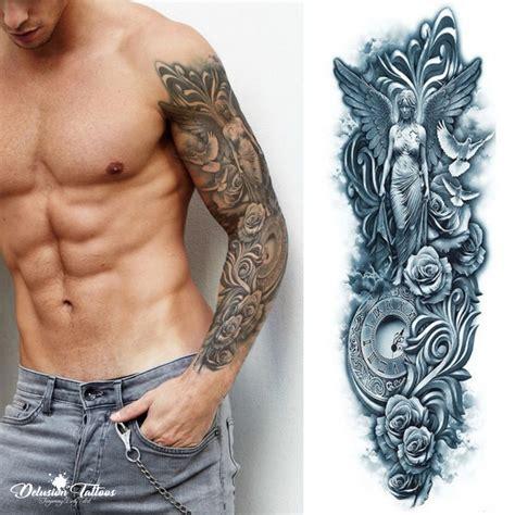 temporary sleeve tattoos for men temporary sleeve mythology clock 3d