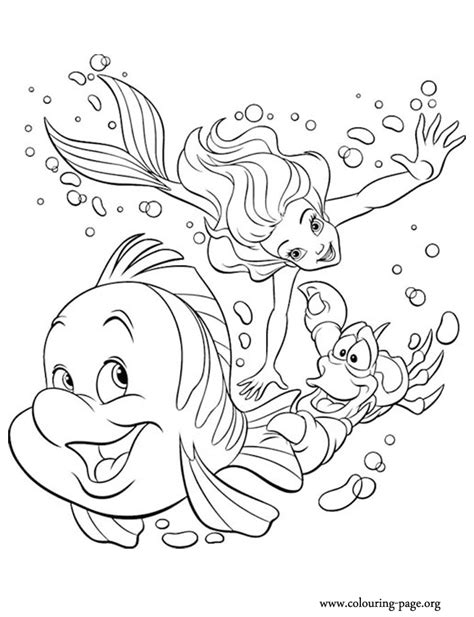 ariel and flounder coloring pages az coloring pages