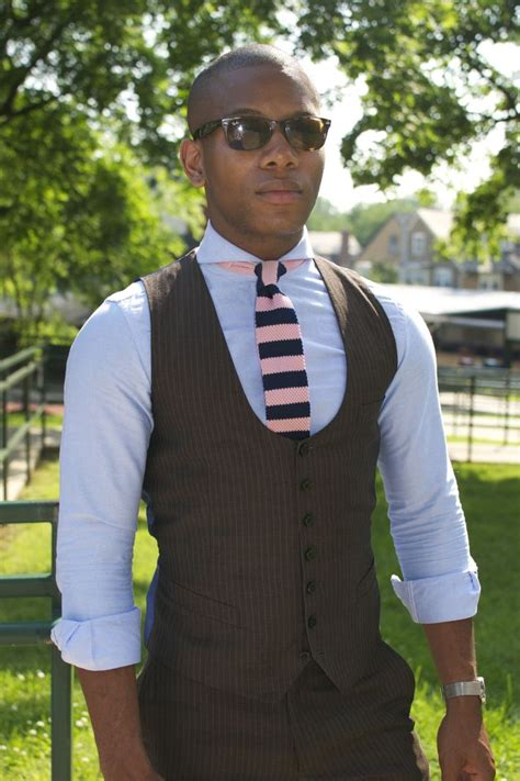 Blue Sailor Wide Collar Blouse tailored brown pinstripe vest and pant sky blue spread collar dress shirt w rolled sleeves and