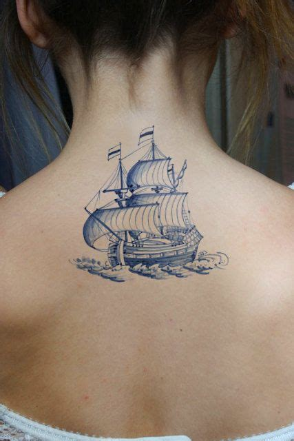 Blue Style Temporary vintage ship in delfts blauw style temporary tattoos tatuering