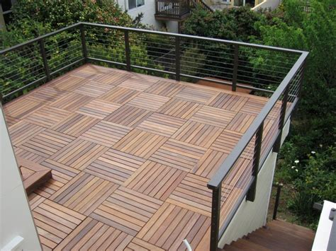Deck Tiles by Wood Deck Roof Railing On The Of Wall And Not