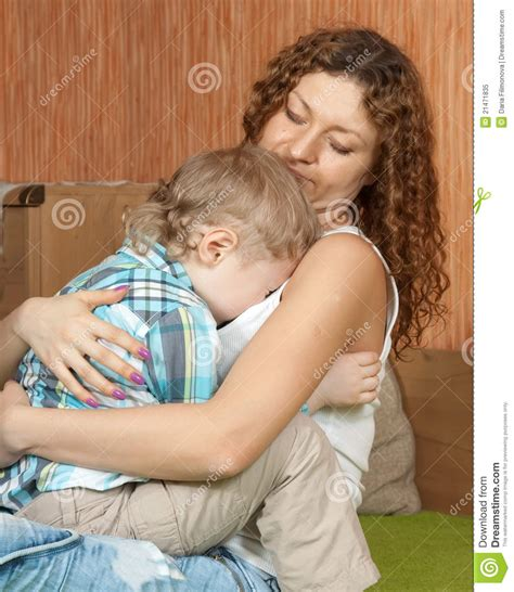comforting child mother comforting crying child royalty free stock photo