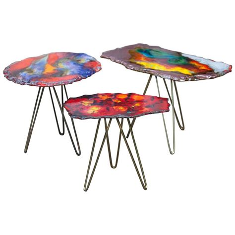 Colorful Table L by Colorful Tripod Enamel Nesting Tables Italy 1955 At 1stdibs