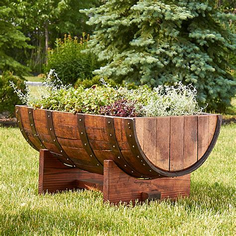 reclaimed half barrel planter wine enthusiast