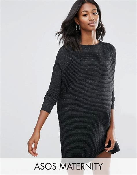asos pattern jumper with sheer sleeves asos maternity asos maternity jumper dress in knit with