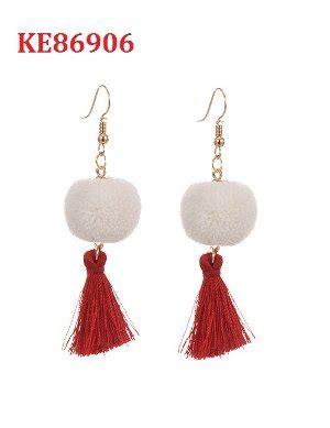 Anting Pompom jual termurah ke86906 anting tassel pom pom merah di lapak fashionistaacc andryyy21