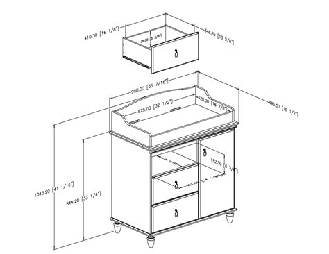Changing Table Dimensions South Shore Moonlight Changing Table 3760332