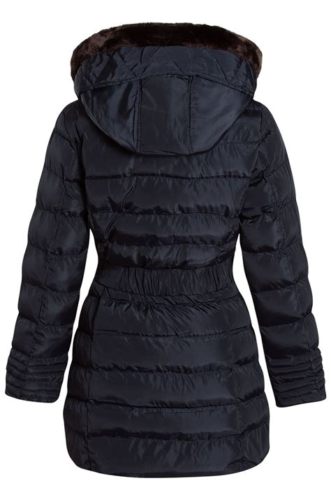 womens warm trim hooded fur coat padded quilted faux