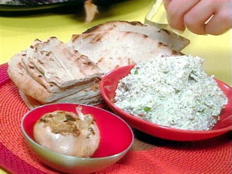 garlic bread recipe rachael ray food network roasted garlic feta and walnut dip toasted flat bread