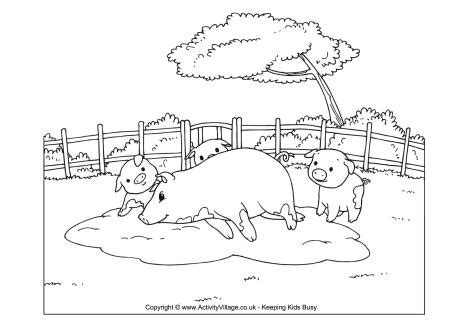 pigsty coloring page pig scene colouring page