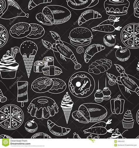Vector Seamless Food On Chalkboard Background Stock Image