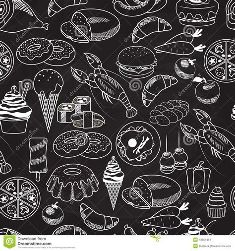 Vector Seamless Food On Chalkboard Background Stock Image