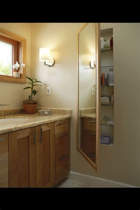 full length bathroom mirror cabinet hidden storage mirror opens to reveal shelves between