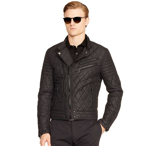 black moto jacket lyst ralph black label quilted moto jacket in