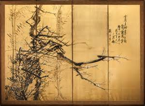 japanese screen craggy plum and bamboo in winter with