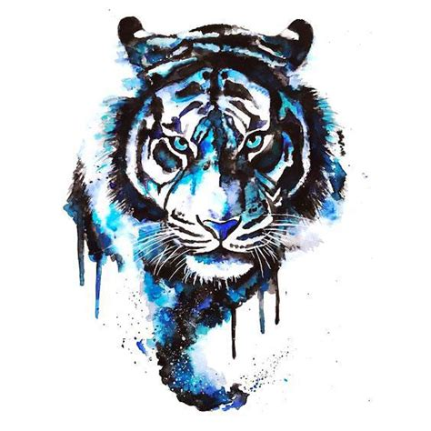 blue watercolor tiger tattoo design watercolor tiger
