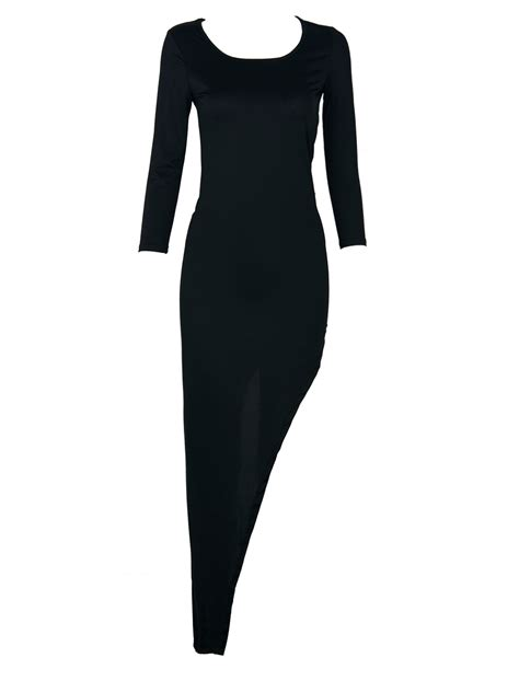3 4 Sleeve Plain Dress black 3 4 sleeve plain asymmetric bodycon dress choies