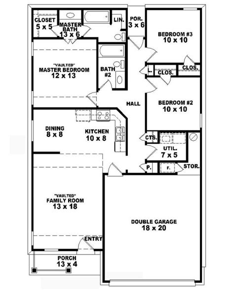 3 bed 2 bath floor plans 653710 one story country style 3 bedroom 2 bath