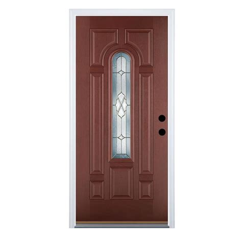 shop therma tru benchmark doors willowbrook 8 panel insulating center arch lite left