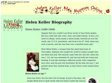 helen keller biography activities helen keller kids museum online resources digital