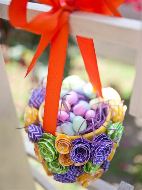 How To Make A Paper Easter Basket - how to make a paper flower easter basket hgtv