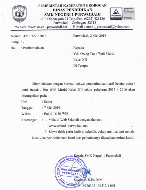 surat pemberitahuan pengumuman kelulusan tahun 2016 smkn 1 purwodadi