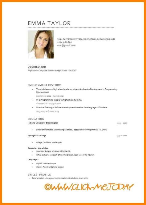 Sample Resume Pdf Student by 4 Cv In English Example Resume Pictures