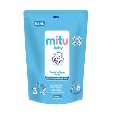 Mitu Baby Wipes 60 Sheets Refill jual mitu baby wipes refill blue 60 sheets