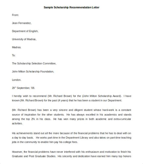 reference letter for scholarship template 27 recommendation letter templates free sle