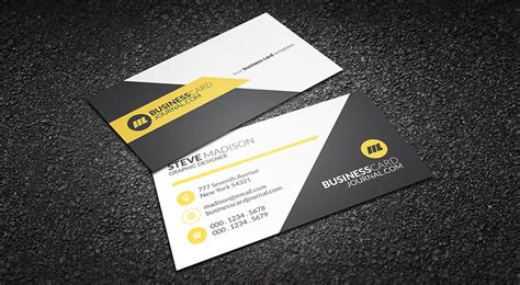 creative visiting card templates free clean yellow accent business card template