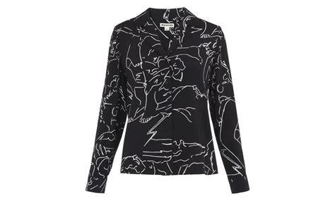 Athena Blouse Fit L athena print silk pyjama shirt black and white whistles