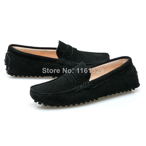 black boat shoes stylish men flat house shoes black suede casual male