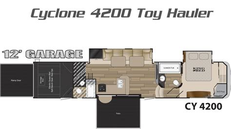 cyclone toy hauler floor plans cyclone toy hauler by heartland rv giant rv autos post