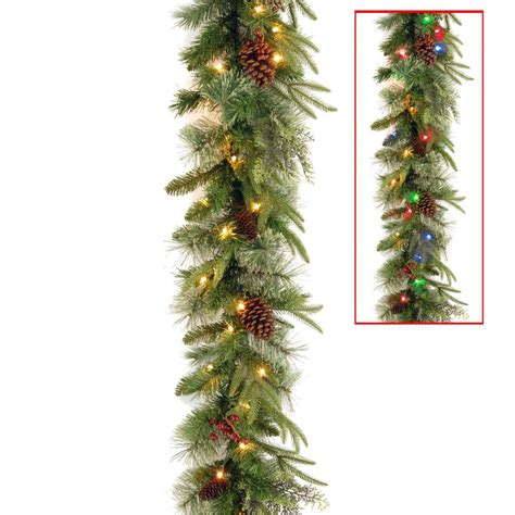 garland with battery operated lights home accents 12 ft battery operated frosted