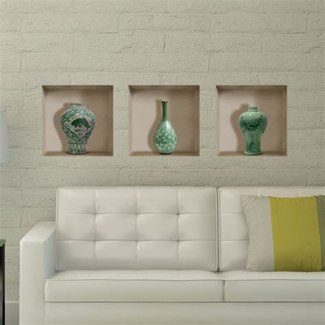 home decor wall paintings ceramic vase 3d riding lattice wall decals pag removable