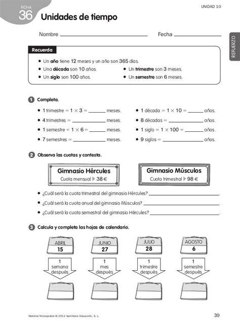 ejercicios tiempo y dinero de 4 de primaria santillana refuerzo matem 225 ticas 4 186 de primaria mat pinterest math