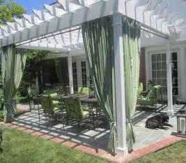 Curtains For Pergola White Pergola With Curtains Backyard