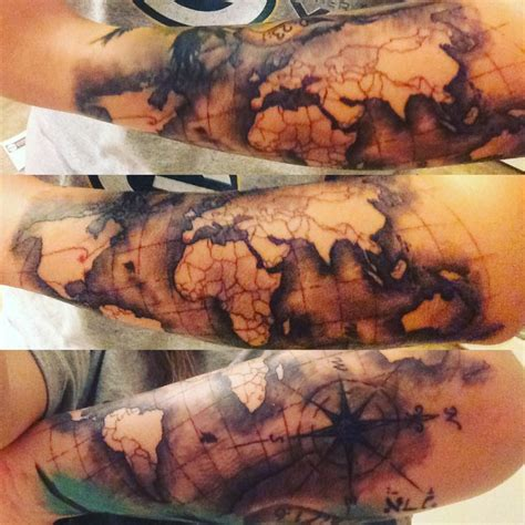 3d tattoo world map collection of 25 elbow tattoo of global