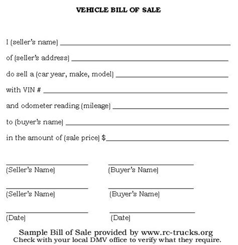printable sample vehicle bill of sale template form