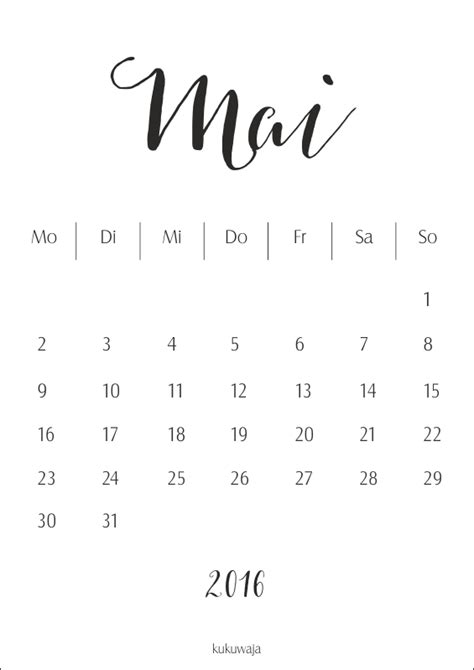 Kalender 2016 Mai Kukuwaja Kalender Monat Mai 2016 Freebie